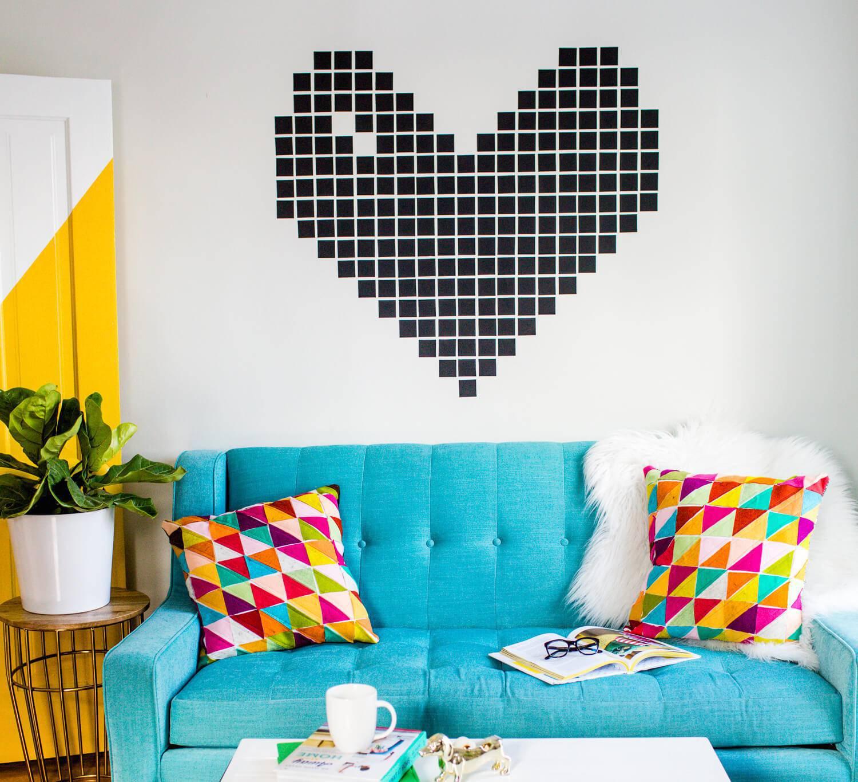 decoração com fita adesiva quarto de casal