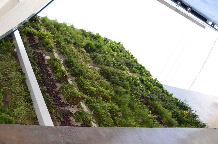 Prédio decorado com jardim suspenso