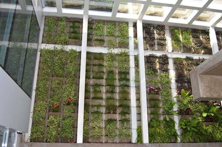 Decoração com teto de vidro e jardim suspenso
