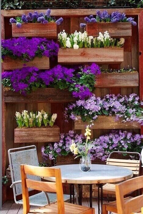 Decoração com jardim vertical colorido