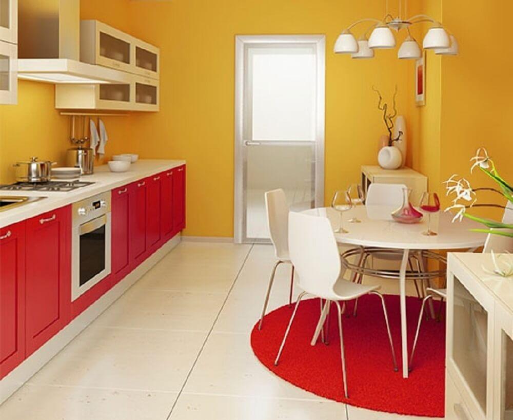 modelo cozinha vermelha e amarela