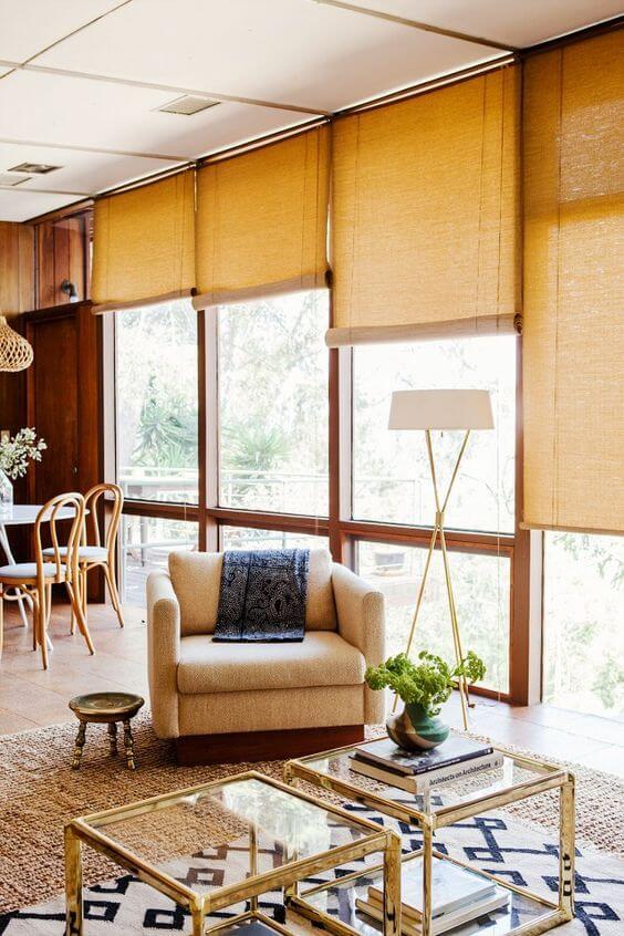 Persianas para sala de estar amarela