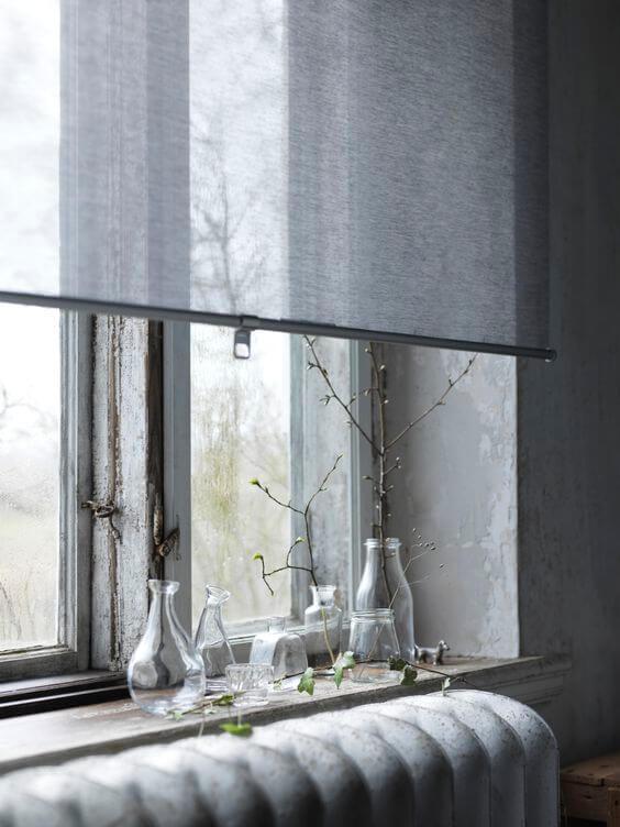 Persianas para sala de estar cinza