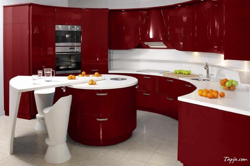 sofisticada cozinha vermelha
