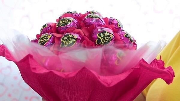 Buquê de bombom de chocolate para o dia dos namorados