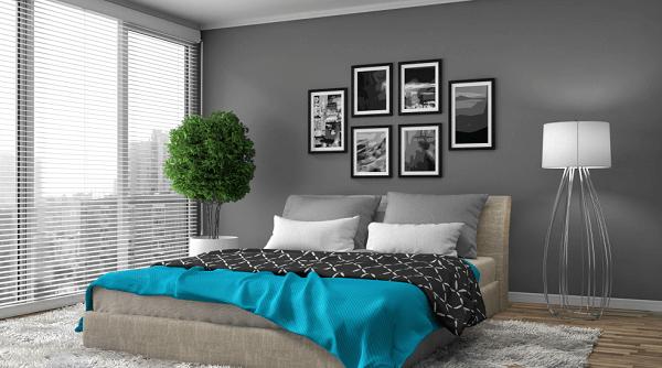 Cores para quartos de casal na cor cinza escuro
