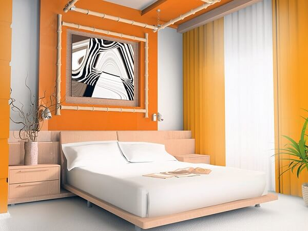Cores para quartos de casal na cor laranja