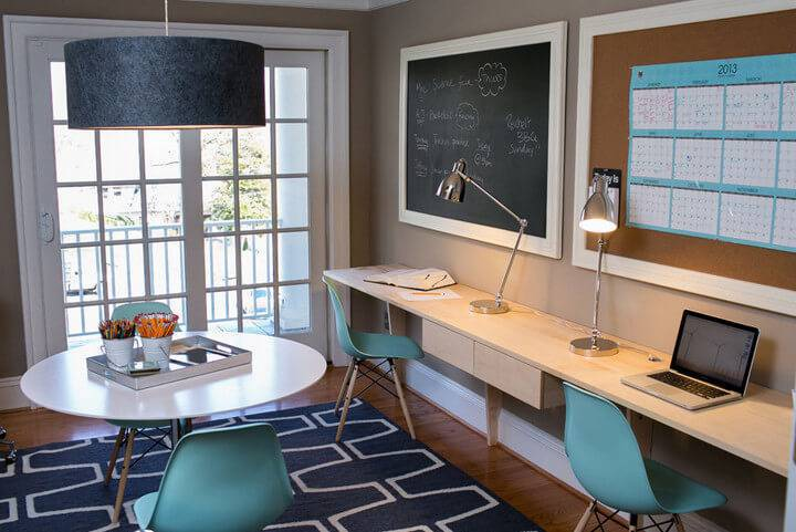 Escrivaninha home office cadeira azul g