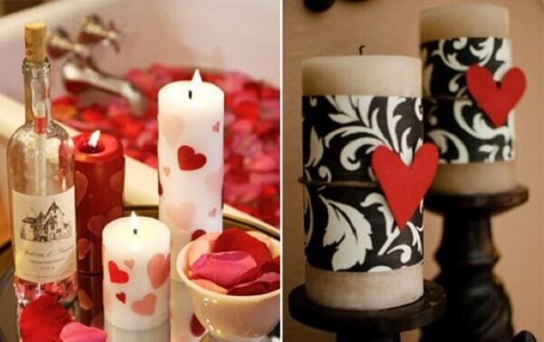 Modelos de velas aromáticas para o dia dos namorados