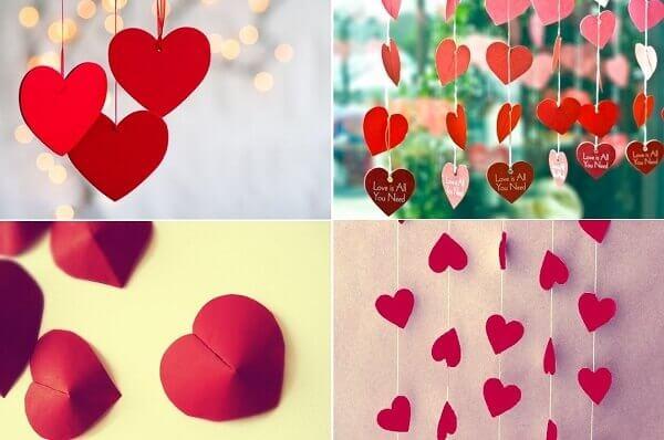 Cortinas criativas em formato de corações