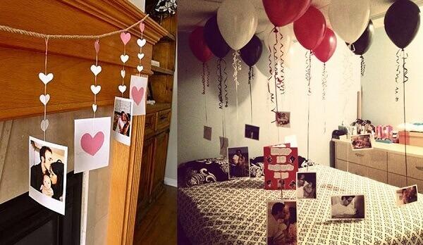 No dia dos namorados decore o ambiente com balões e fotos