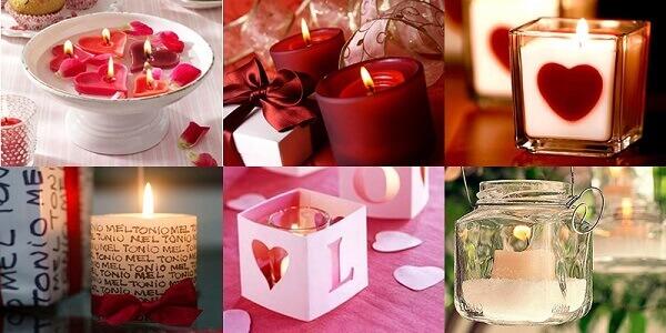 Velas aromatizadas para decoração de dia dos namorados