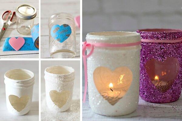 Velas com glitter para decoração de dia dos namorados