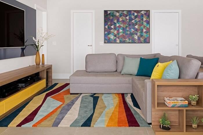 apartamento decorado colorido sala de estar