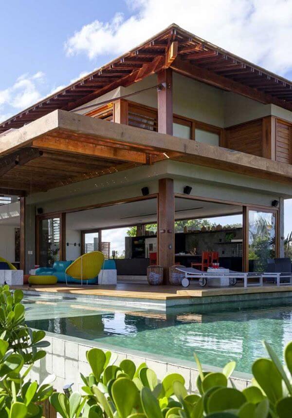 Casas de campo com piscina grande