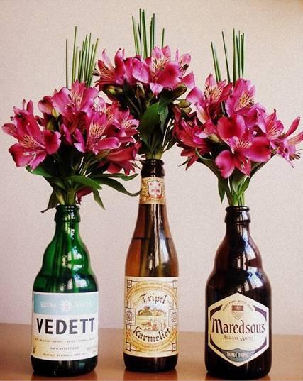 decoração dia dos namorados flores garrafas