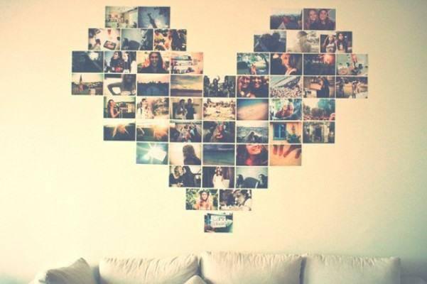 Forme um coração com fotos do seu amor e complemente a decoração de dia dos namorados