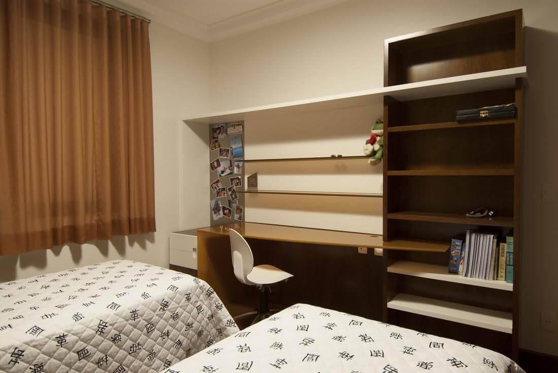 escrivaninha quarto de solteiro com prateleiras angela pinho 67683