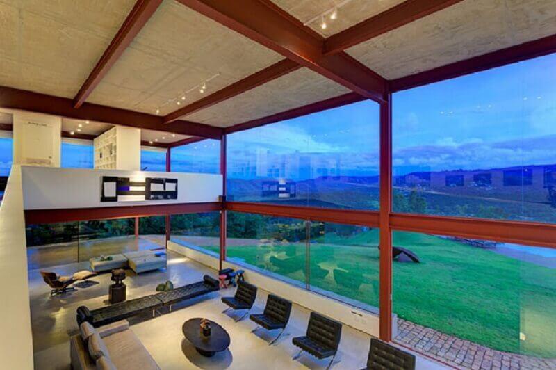 paredes de vidro para casas de campo