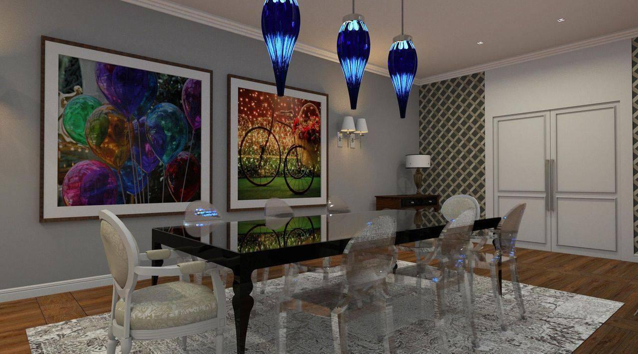 pendente azul sala de jantar espaco au 41793
