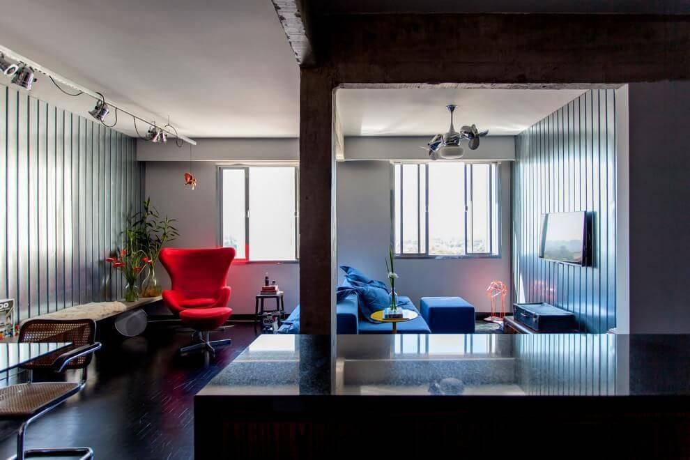 poltrona egg sala de estar vermelha tria arquitetura 85121