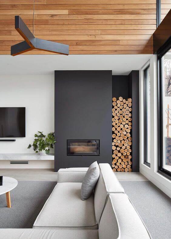 Sala de tv em projetos de casa