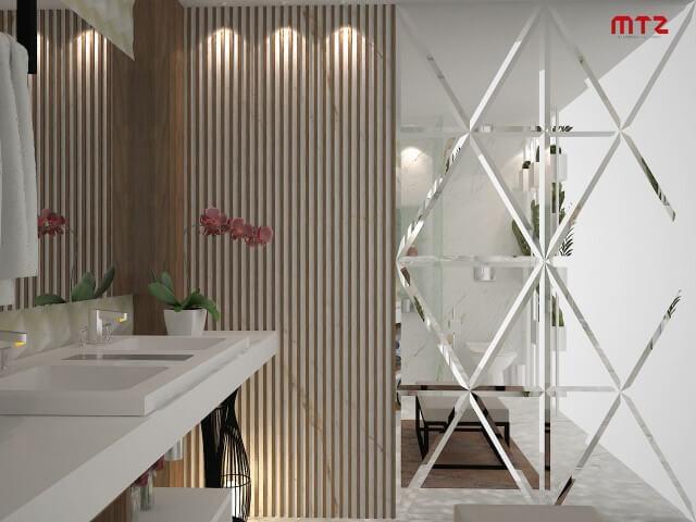 Banheiro com espelho para banheiro de parede inteira Projeto de Maria Tereza Zucoloto