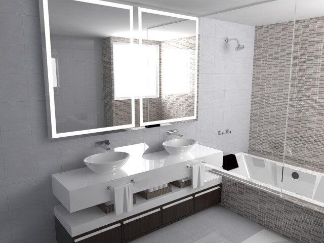 Banheiro com espelho para banheiro iluminado com LED Projeto de Fernando Lima