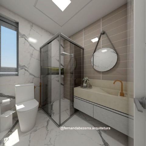 Banheiro com espelho para banheiro redondo Projeto de Fernanda Bezerra