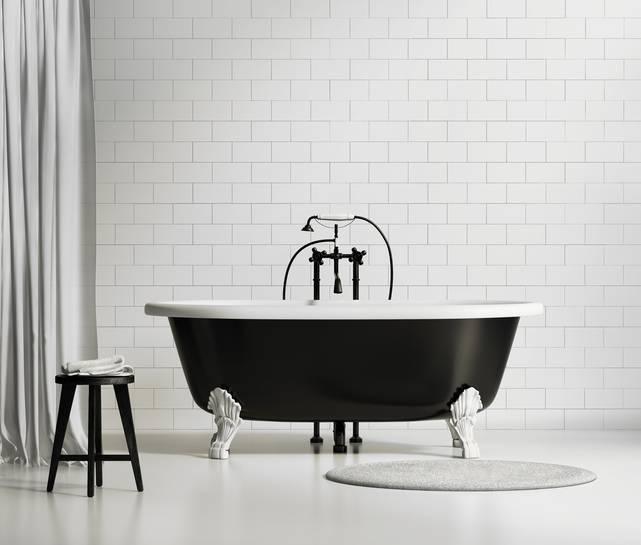 Banheiro de rico - Banheira preta
