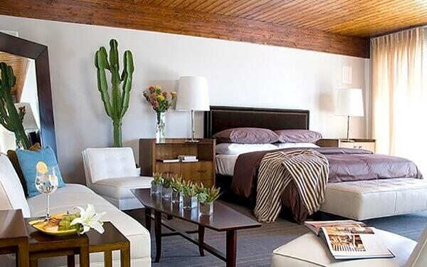 Cactos na decoração de quarto de casal