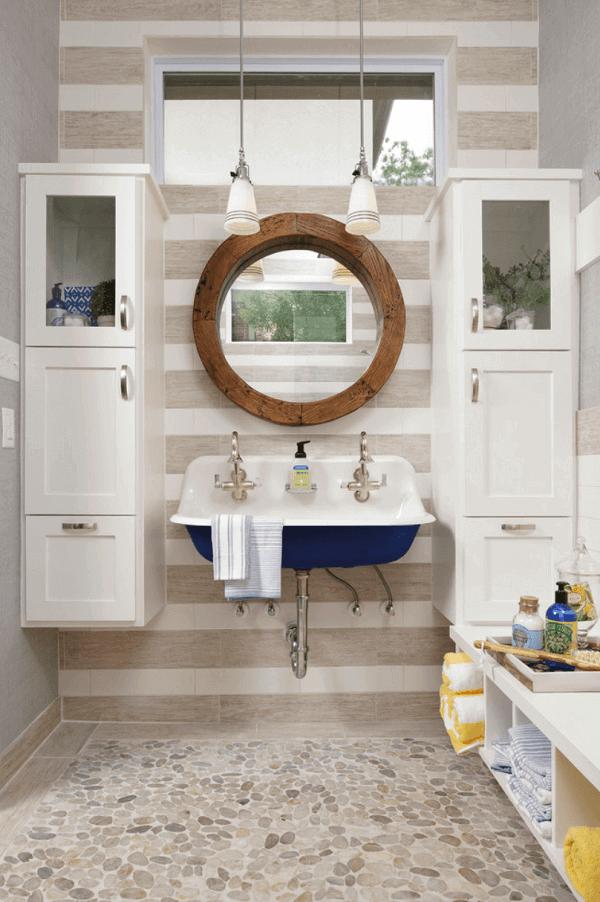 Decoração náutica para o banheiro da casa de praia