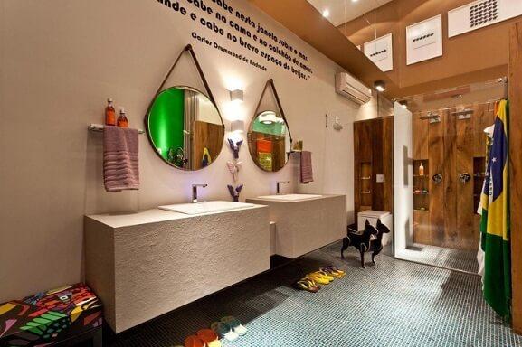 Espelho para banheiro redondo duplo Projeto de Juliana Pippi