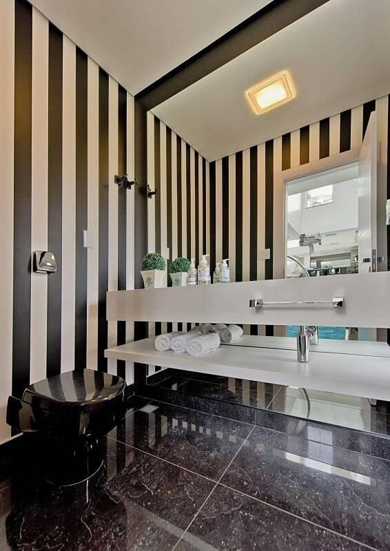 Papel de Parede no lavabo espaco do traco 105146