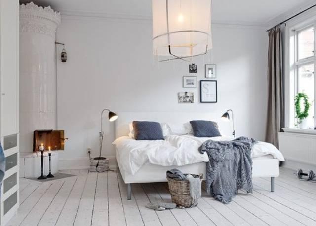 Quarto de casal com decoração escandinava