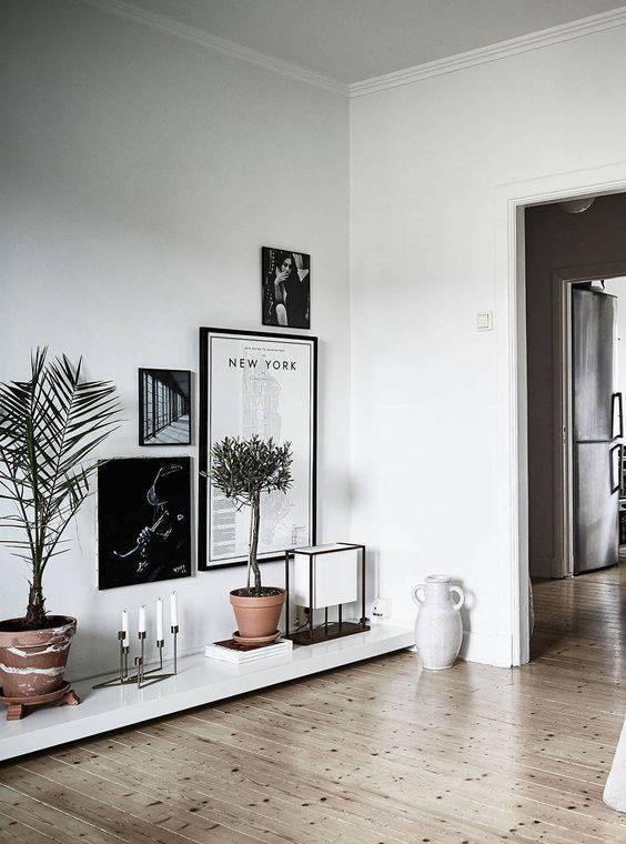 Sala de estar escandinava com plantas na estante