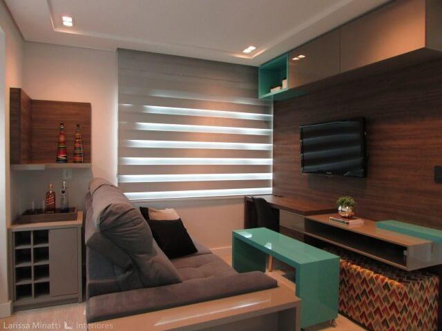 Sanca de gesso em sala de estar Projeto de Larissa Minatti