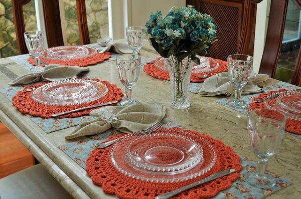 Sousplat de crochê mesa de jantar