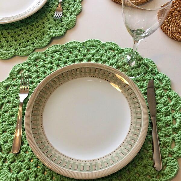 Sousplat de crochê verde