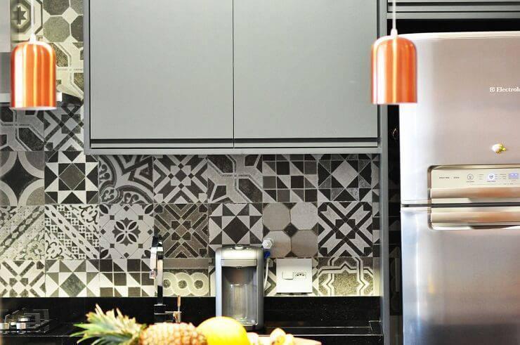 azulejo cozinha decorativo dispar preto e branco condecorar 142235