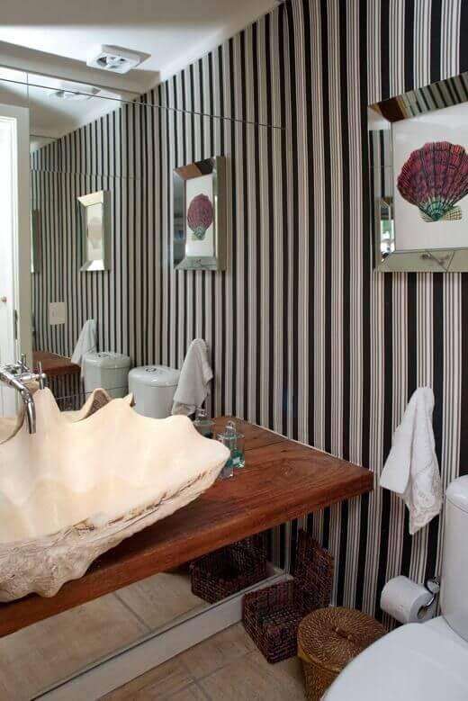 casa de praia banheiro com cuba de concha urbano studio 71310