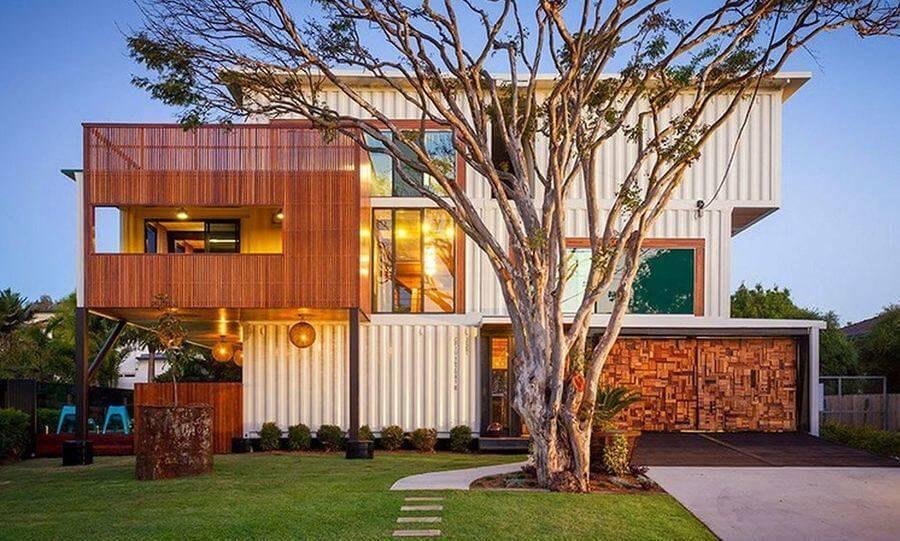casas pré moldadas conteiner 3 andares com árvore