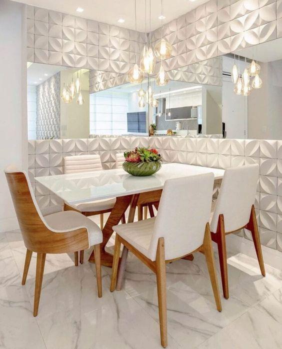 Sala de jantar com textura de parede moderna