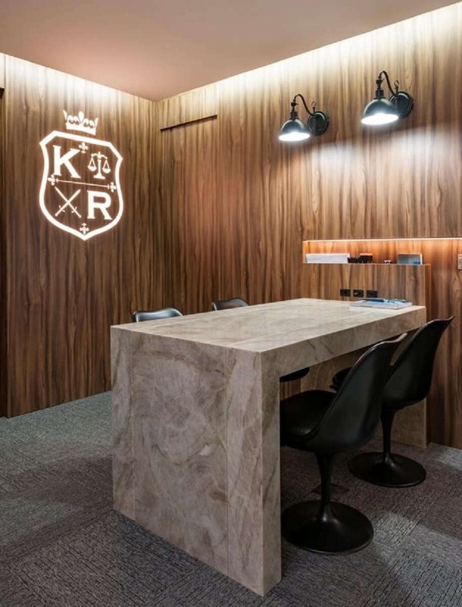 decoração moderna de sala de reuniões Foto Mis Arquitetura e Interiores