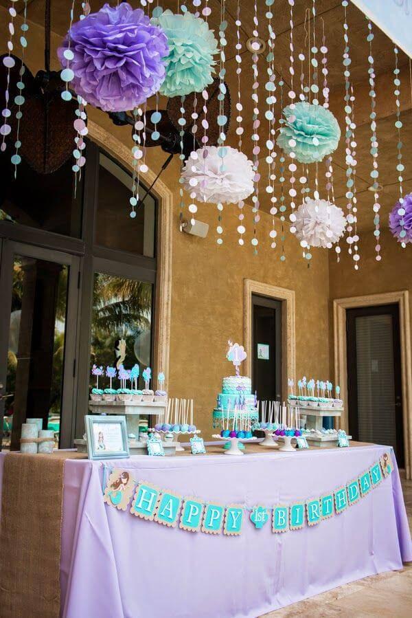 decoracao de festa infantil turquesa e roxo