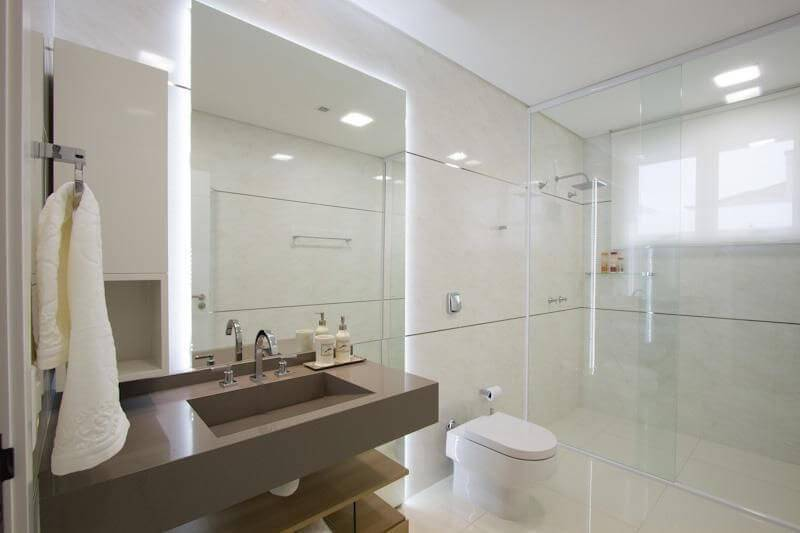 espelho para banheiro bancada marrom studio kza 40535