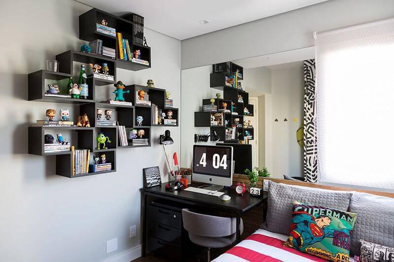 estante decorativa coleção quarto de solteiro studio novak 126669