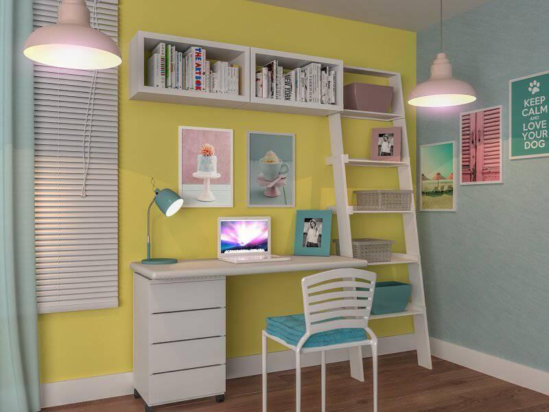estante decorativa mesa de estudos feminina leroy