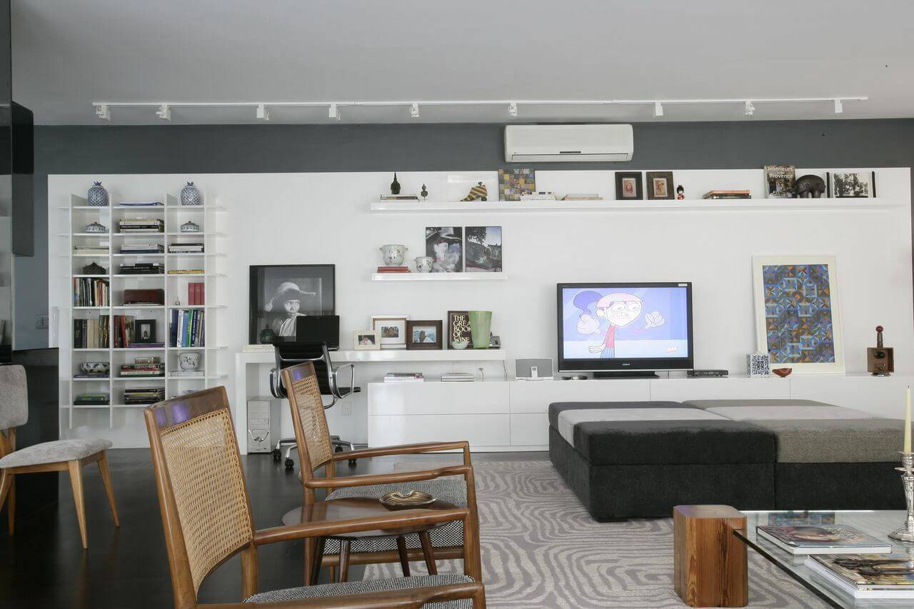 estante decorativa suspensa sala de estar home office amc arquitetura 89769