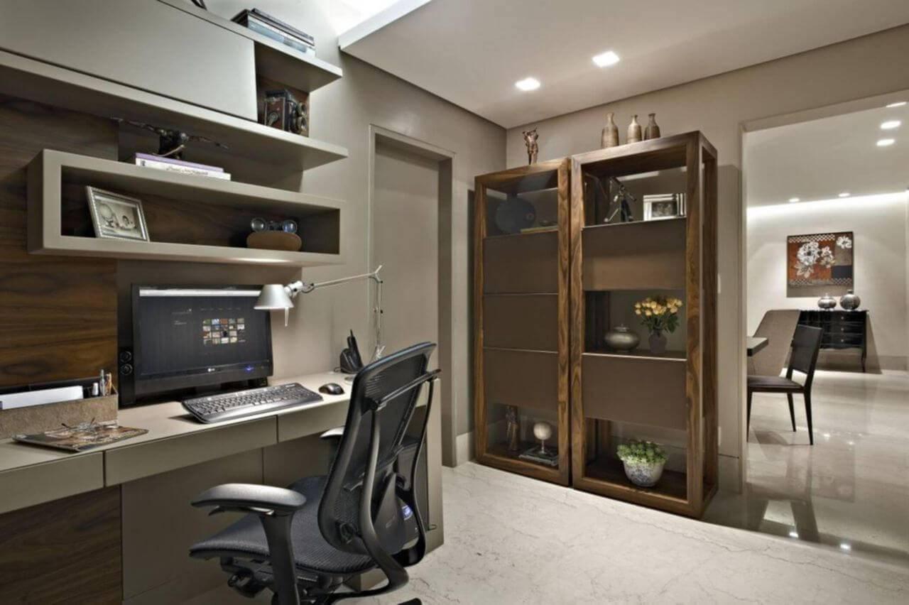 estante dupla em madeira home office gislene lopes 69884